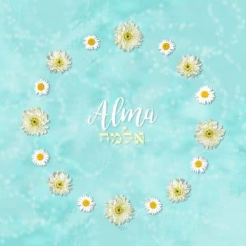 Mums Girl Name Art Aqua by Mickie Caspi