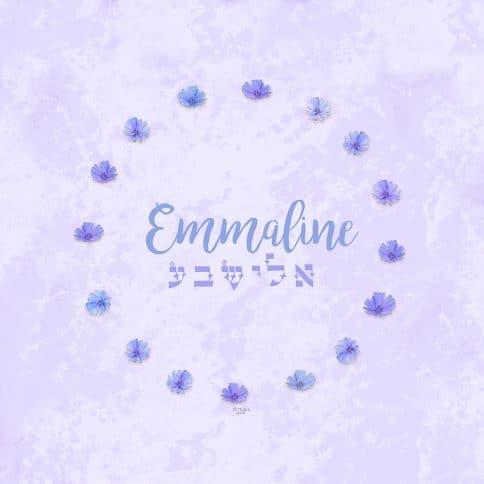 Purple Chicory Girl Name Art Lavender by Mickie Caspi
