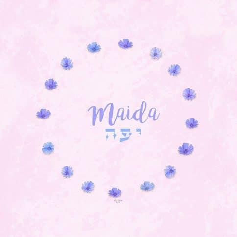 Purple Chicory Girl Name Art Rosebud by Mickie Caspi
