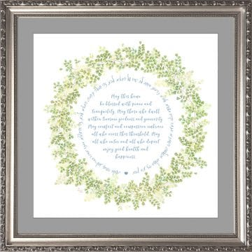 Jewish Home Blessing Garland Framed Art Print by Mickie Caspi