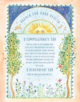 Prayer for Good Health Whimsy by Mickie ENGLISH & HEBREW