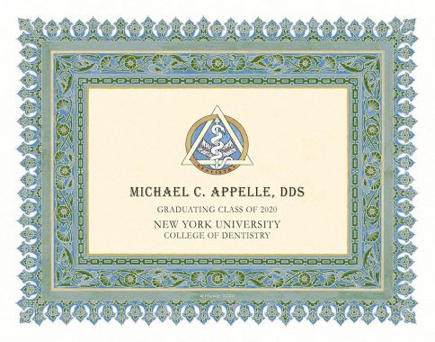 Personalized Dentist Graduate Diploma Gift by Mickie Caspi Azure