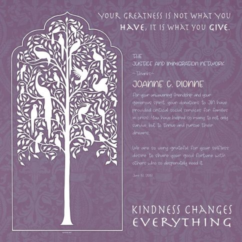 Personalized Honoree Presentation Tree of Life Gift by Mickie Caspi Lilac