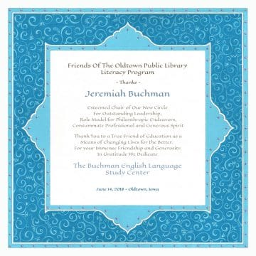 Personalized Honoree Presentation Persian Silk Gift by Mickie Caspi Turquoise