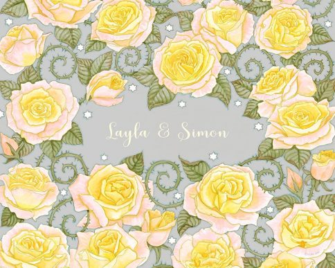 Roses Lovers Gift Yellow Grey by Mickie Caspi