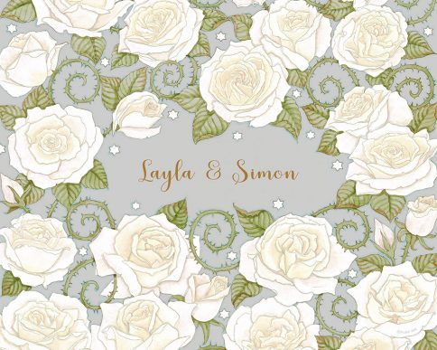 Roses Lovers Gift White Grey by Mickie Caspi