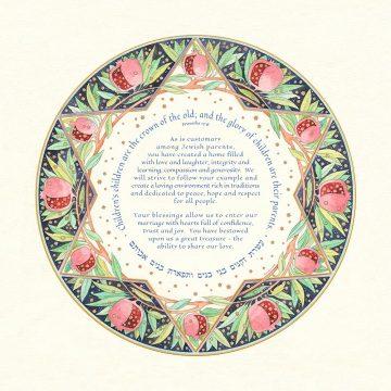 Pomegranate Parents Gift Custom Fine Art Print by Mickie Caspi