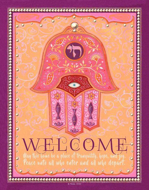 Chai Hamsa New Home Blessing Redbud Custom Fine Art Print by Mickie Caspi