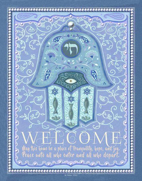 Chai Hamsa New Home Blessing Blue Custom Fine Art Print by Mickie Caspi