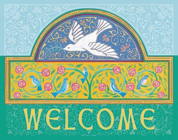 Dove New Home Blessing Blue Custom Fine Art Print by Mickie Caspi