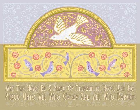 Dove New Home Blessing Mauve Custom Fine Art Print by Mickie Caspi