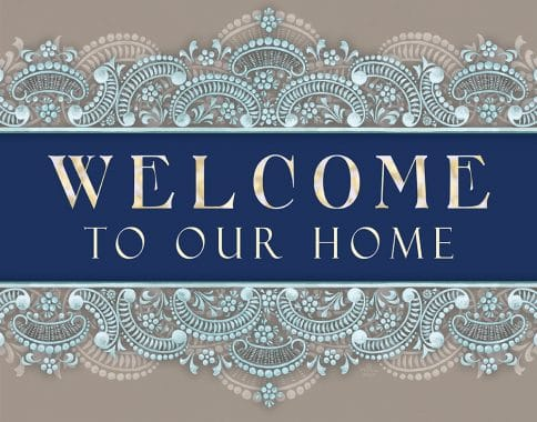 Etched Glass New Home Blessing Soft Blue Custom Fine Art Print by Mickie Caspi