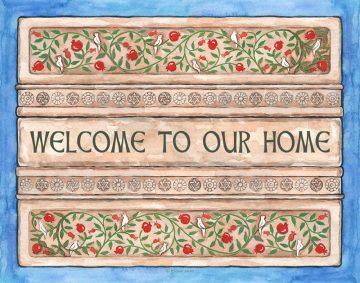 Tablets New Home Pomegranates Blessing Custom Fine Art Print by Mickie Caspi