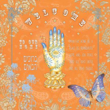 Mystic Hamsa New Home Blessing Orange Custom Fine Art Print by Mickie Caspi