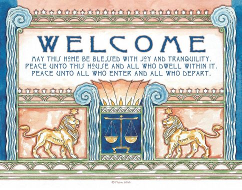 Deco Lions New Home Blessing Prussian Custom Fine Art Print by Mickie Caspi