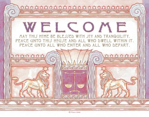 Deco Lions New Home Blessing Violet Custom Fine Art Print by Mickie Caspi