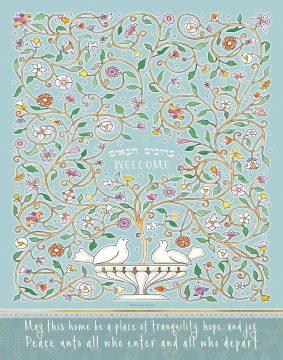 Nest New Home Blessing Teal Custom Fine Art Print by Mickie Caspi