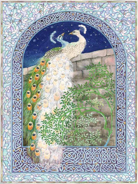 Peacocks Love Midnight Wall Art Custom Fine Art Print by Mickie Caspi