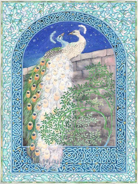 Peacocks Love Sky Wall Art Custom Fine Art Print by Mickie Caspi