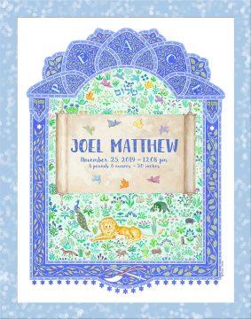 Baby Boy Giclee Peaceful Kingdom Blue Baby Wall Art by Mickie Caspi