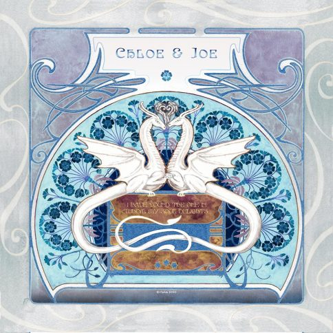 Dragon Love Sky Wall Art Custom Fine Art Print by Mickie Caspi