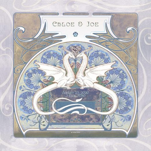 Dragon Love Pond Wall Art Custom Fine Art Print by Mickie Caspi