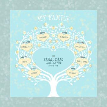 Custom Heart Family Tree Baby Boy Yellow by Mickie Caspi