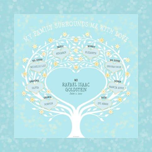 Custom Heart Family Tree Baby Boy Baby Blue by Mickie Caspi