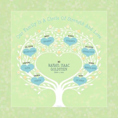 Custom Heart Family Tree Baby Boy Spring Leaf by Mickie Caspi