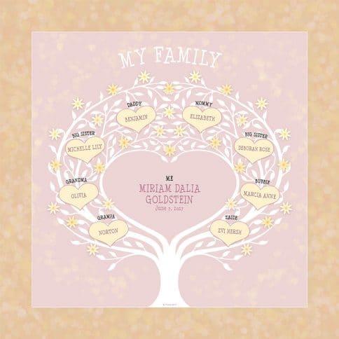 Custom Heart Family Tree Baby Girl Yellow by Mickie Caspi