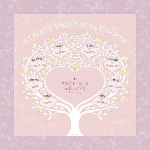 Custom Heart Family Tree Baby Girl Pinks by Mickie Caspi