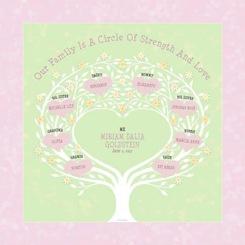 Custom Heart Family Tree Baby Girl Spring Leaf by Mickie Caspi