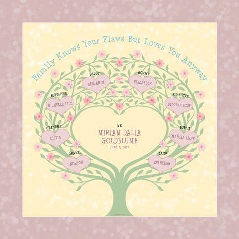 Custom Heart Family Tree Baby Girl Honey by Mickie Caspi