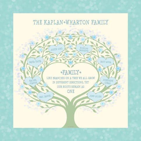Custom Heart Family Tree Loving Family Cream by Mickie Caspi