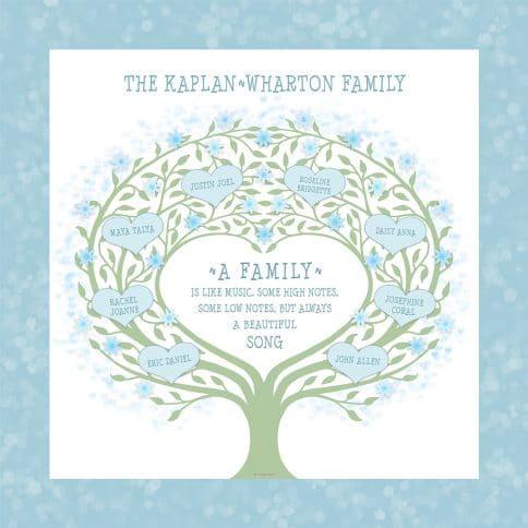 Custom Heart Family Tree Loving Family White by Mickie Caspi
