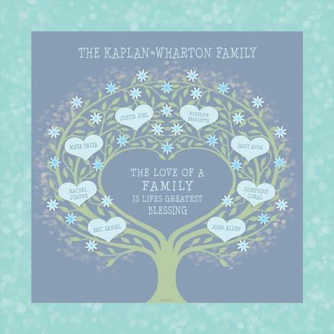 Custom Heart Family Tree Loving Family Blue by Mickie Caspi