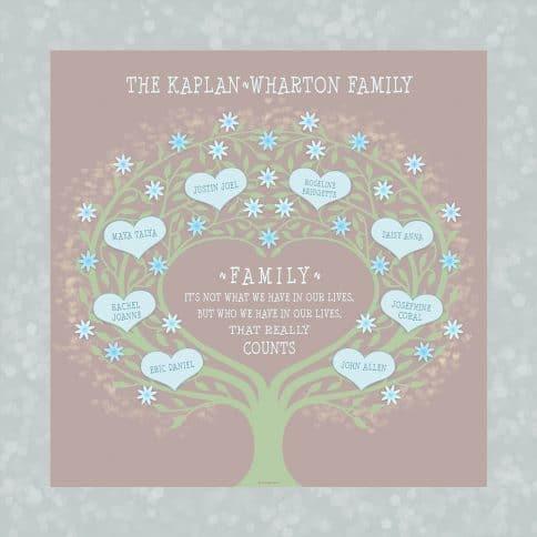 Custom Heart Family Tree Loving Family Taupe by Mickie Caspi