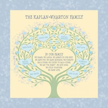 Custom Heart Family Tree Loving Family Sunshine by Mickie Caspi