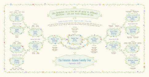 Custom Garland Family Tree Bar Mitzvah Bat Mitzvah Cream by Mickie Caspi