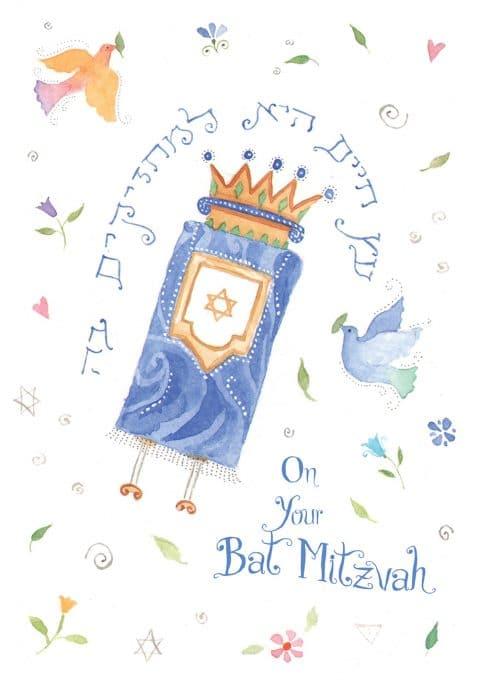 BT636 Bat Mitzvah Torah Greeting Card by Mickie Caspi